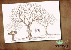Weddingtree Vögel, DIN A3 von sarayu design auf DaWanda.com