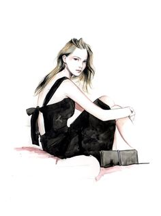 Fashion illustration of chic black dress by Nina Ricci; beautiful fashion drawing // Caroline Andrieu
