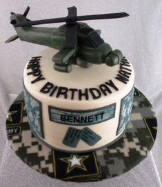 Army Apache Helicopter Army Apache Helicopter made of rice cereal treats. Edible images on the side of the cake. Army Themed Birthday, Army Birthday Cakes, Army's Birthday, Happy Birthday, Helicopter Cake, Helicopter Birthday, Military Helicopter, Army Cake, Military Cake
