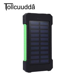 Tollcuudda Solar Power Bank 10000mah  External Battery Portable Mobile  Charger Dual USB Powerbank for iPhone 6  Tablet