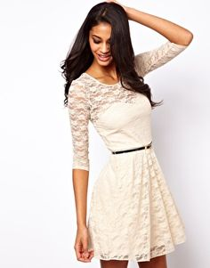 Image 1 of ASOS Skater Dress In Lace with 3/4 Sleeves And Belt
