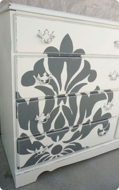 Dresser painting project - with silhouette of Susan striking a ballet pose