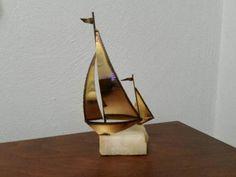 Items similar to Mario Jason Sailboats on Onyx Stone on Etsy Vintage Nautical Decor, Sailboat Decor, Small One, Black Felt, Mantle, Mario, Shelf, Base, Stone