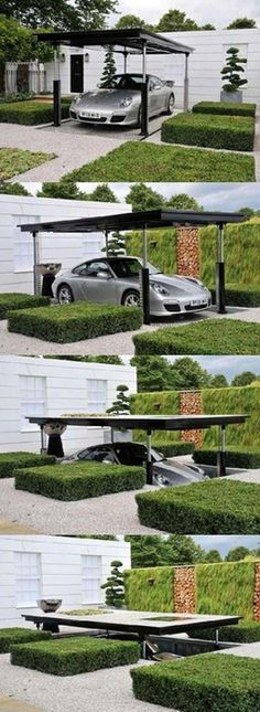 Stealth Garage. This is an idea for my tiny cottage at Ffynnon Oer. Planning permission?
