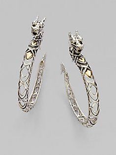 John Hardy - 18K Gold & Sterling Silver Dragon Hoop Earrings