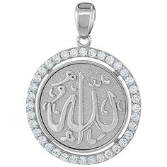 Sterling Silver ALLAH CZ Islmic Pendant Round 1 116 inch in diameter * Want to know more, click on the image.
