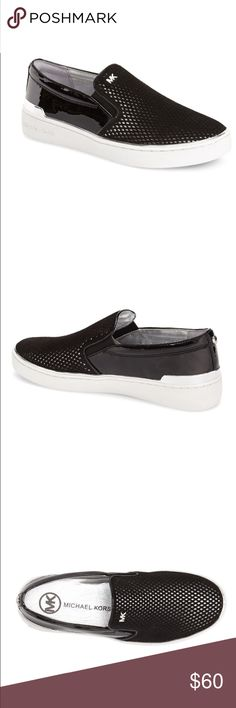 Michael Kors Black Slip-on Sneakers Worn ONCE and in amazing condition! Leather/man-made upper and rubber sole. Super neutral and comfortable, goes with everything! The great thing about this slip on specifically is that it can be dressed up or down because of the beautiful silver accents! Great basic for any season!! Women's size 6! Michael Kors Shoes Sneakers