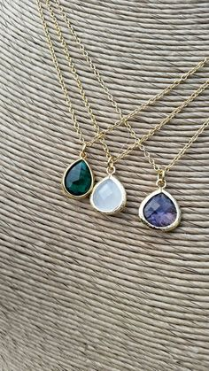 Tear drop Pendant on Gold Chain - emerald green- purple - white -layering necklace - wedding jewelry,