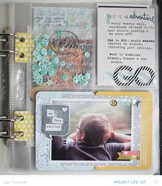 Love the binder hole tabs, the sequin action and you know I ♥ me some stitching on paper!