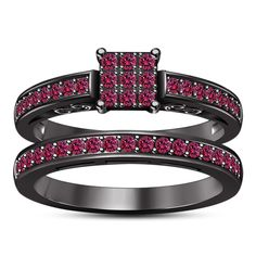 Pink Sapphire 14k Black Gold Plated Bridal Engagement Ring. Starting at $1
