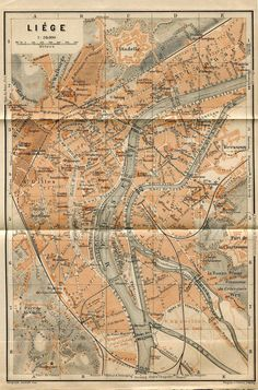 1905 City Map of Liege Belgium   Baedeker by CarambasVintage