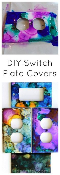 Dress up your walls with fun DIY Switch Plates. This super easy step by step tutorial will show you how to paint your light switches with alcohol inks. FiberArtsy.com
