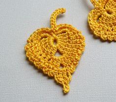 3 Crochet Leaf Appliques -- Gold Birch Leaves