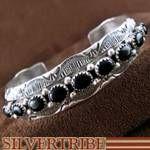 Native American Onyx Sterling Silver Cuff Bracelet