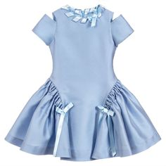 An elegant pale blue dress by ValMax, made in a luxurious, polyester and silk blend satin. The full, panelled skirt has