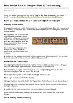 Part 2 of How To Get Rank in Google now in Slide Share...
