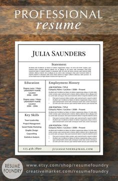 Professional Resume Template For Word ✓ Instant Download Resume Template ✓  US Letter And A4 CV