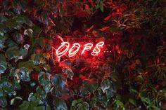 OOPS... Neon light in vermilion red colour - this cool lighting will add a touch of retro and mood lighting to any room.  Dimension: 60cm X 23cm, neon tube glass mounted on perspex board, cable with switch and 2KV transformer, 220/240V LED lights Please note: cannot be hard-wired to mains