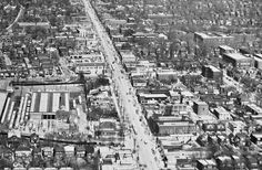 It's time to head a little north for a dose of Toronto history. Given the manner in which the city developed up from Lake Ontario, it's understanda. Bus Terminal, Aerial View, Historical Photos, Ontario, New York Skyline, Toronto, City Photo, 1950s, The Neighbourhood