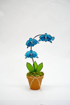LARGE INTENSE BLUE Orchid Suncatcher by GalaGardensGlassArt