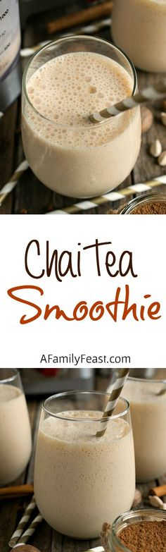 Smoothie Chai Tea Smoothie - A delicious, spicy way to start your morning! Made with a homemade chai concentrate.Chai Tea Smoothie - A delicious, spicy way to start your morning! Made with a homemade chai concentrate. Chai Tea Smoothie, Tea Smoothies, Juice Smoothie, Smoothie Drinks, Healthy Smoothies, Healthy Drinks, Healthy Snacks, Healthy Recipes, Turmeric Smoothie