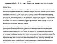 Oportunidades de la crisis : hagamos una universidad mejor / @el_pais | #readyforhighereducation #readytoteach #readytoresearch #universidadencrisis