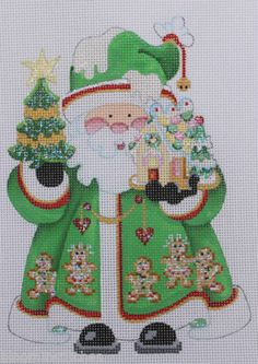 Strictly Christmas Santa Claus with Gingerbread Hand Painted Needlepoint Canvas | eBay  $51