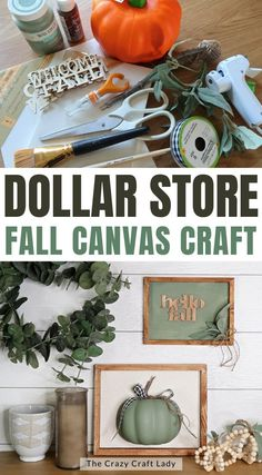 Dollar Store Fall Canvas Craft - make a reverse canvas decor project for fall
