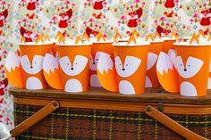 Crafty Like a Fox Birthday Party Fox paper cups from a Crafty Like a Fox Birthday Party on Kara's Pa Boys First Birthday Party Ideas, Wild One Birthday Party, Boy Birthday Parties, Fox Party, Woodland Party, Baby Shower, First Birthdays, Paper Cups, Diy