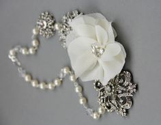 Chiffon Flower Crystal and Pearl Choker ~ Handcrafted
