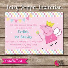 Peppa Pig Printable Birthday Invitation EDITABLE por SandiaStickers