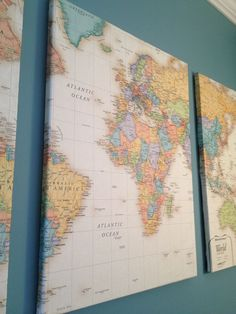 DIY map on canvas for art. How about using pins or hearts to mark where you've lived/visited? Home Decoracion, Diy Wand, Home And Deco, Crafty Craft, Crafting, Map Art, Map Wall Art, My New Room, Art Projects