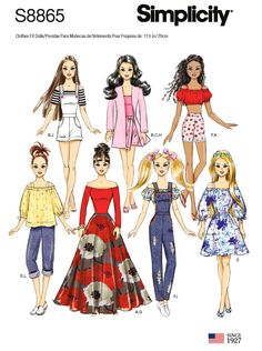 Sewing Pattern 11 inch Fashion Doll Clothes Patterns, Barbie Doll Size Clothes Pattern, Simplicity Sewing Pattern 8865 by on Etsy Sewing Barbie Clothes, Barbie Sewing Patterns, Simplicity Sewing Patterns, Doll Clothes Patterns, Vintage Sewing Patterns, Clothing Patterns, Doll Patterns, 12 Inch Doll Clothes, Simplicity Fashion