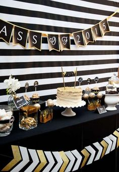 Black and Gold Graduation Party Graduation/End of School Party Ideas | Photo 7 of 13 | Catch My Party
