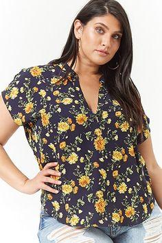 068ec3331a1d1 Plus Size Floral High-Low Top Plus Size Blouses