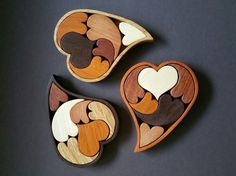 Wooden hearts in a box
