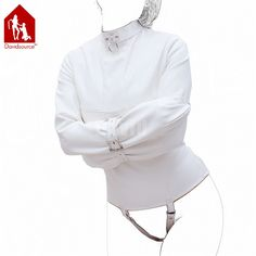 44.17$  Watch now - http://ai1ce.worlditems.win/all/product.php?id=32491133367 - Davidsource White Leather Restraint Suit Psycho Shirt For Sex Slave Strap-on Lockable Adjustable Bondage Fetish Sex Toy