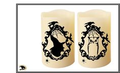 Witch and Owl Silhouette Candles Vintage Halloween Candles Flameless Candles