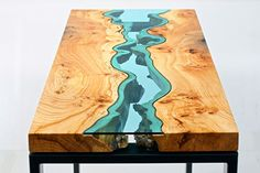 Artist Embeds Glass in These Reclaimed Wood Tables for an Awesome Flowing River Effect - TechEBlog