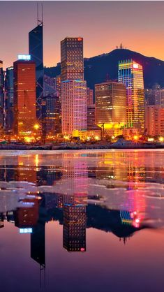 A colorful Hong Kong sunset.