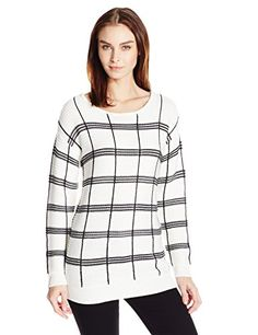Calvin Klein Womens Plaid Stripe Boatneck Sweater Soft WhiteMulti Soft WhiteBlack L ** Click for Special Deals #PulloverSweaters Women's Sweaters, White Sweaters, Pullover Sweaters, Sweaters For Women, Special Deals, White Pants, Boat Neck, Calvin Klein, Plaid