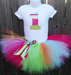 Multicolored First Birthday Tutu Outfit and Headband  Pink