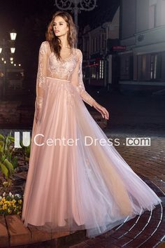 b34777a2f8a A-Line Bateau Puff Long Sleeve Tea-Length Lace Illusion Dress With Appliques