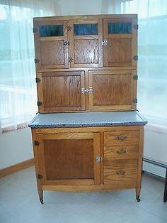 Mcdougall Hoosier Kitchen Cabinet C 1919 Excellent Condition Blue Slag Glass
