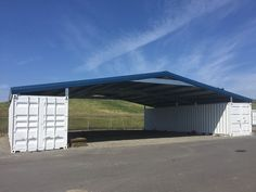 Shipping Container Sheds, Shipping Container Buildings, Shipping Containers, Container Shop, Container House Design, Building A Container Home, Gambrel, Roofing Systems, Steel Buildings