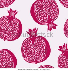 Seamless pattern with hand-drawn pomegranate by Fandorina Liza, via Shutterstock