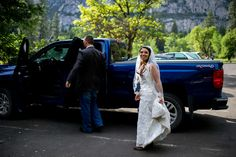 Yosemite wedding Chevy 4x4