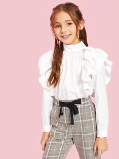To find out about the Girls Mock-neck Ruffle Embellished Pleated Front Blouse at SHEIN, part of our latest Girls Blouses ready to shop online today! Young Girl Fashion, Girl Fashion Style, Girls Fashion Clothes, Tween Fashion, Teen Fashion Outfits, Tween Clothing, Fashion Styles, Teenage Girl Outfits, Dresses Kids Girl