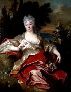 Nicolas de Largillière (1656-1746): Portrait of a lady, traditionally identified as the Duchess of Phalaris, as Flora. Early 18th century.