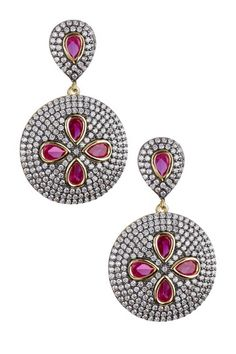 Two-Tone Pave CZ Disc & Inlaid Fuchsia Stone Earrings